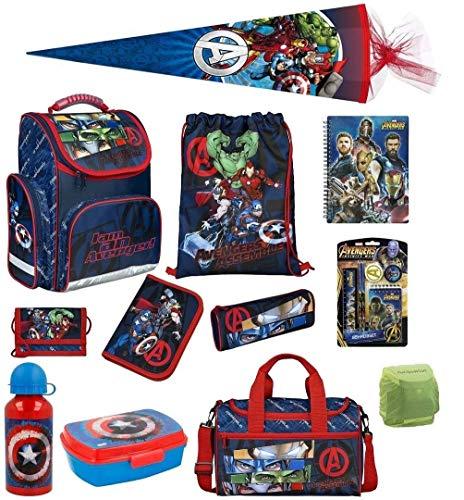Familando Avengers Schulranzen-Set 17tlg. mit Dose/Flasche Sporttasche Federmappe Schultüte 85cm und Regenschutz Hulk Thor