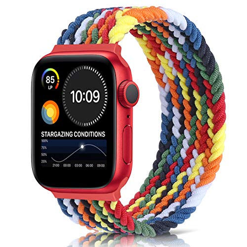 Unnite Braided Stretchy Solo Loop Band Compatible with Apple Watch 42mm 44mm, Sport Straps Nylon Woven Elastic Watch Bands Compatible for iWatch Series 6/5/4/3/2/1/SE Women Men(Colorful, 42mm/44mm:#6)