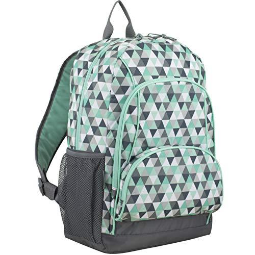 Eastsport Multi Pocket School Backpack, Mint/Ash Gray/Triangle Print