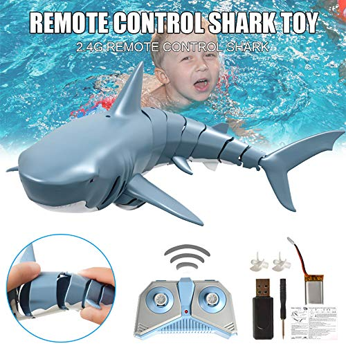lzndeal Mini Remote Control Toy Electric RC Shark Swim in Water for Kids Gift 2.4GHz 4 Way Operation Electronic Bath Toy Underwater Shark Water Game Toy Creative Gifts for Children Adults
