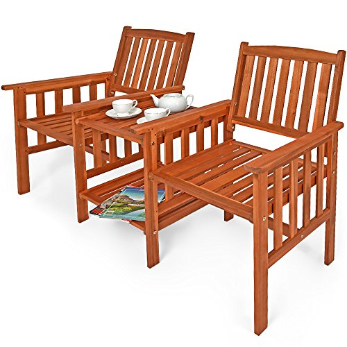 Deuba Garden Love Seat Acacia Wood Table and Chairs Companion Bench