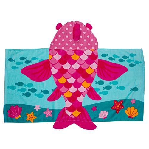 "Stephen Joseph Unisex Kids Bath and Beach Soft Cotton Velour Hooded Towel, Size 46""x24"""
