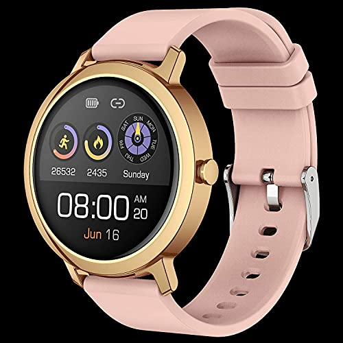 YEE Smart Watch Llamada Bluetooth Watch Music Play Smart Watch Ladies Menstrual Cycle Monitor Monitor Fitness Ejercicio rastreador, Reloj Inteligente, (Color: Rosa)