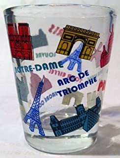 Paris France Color Landmarks Collage Shot Glass
