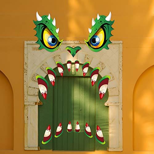 Halloween Monster Gesicht Dekorationen Wütend Monster Gesicht Dekoration Wasserdichte Outdoor Monster Muster Aufkleber mit Zähnen Nase für HalloweenParty Tür Torbogen Fenster Auto Haus Dekor