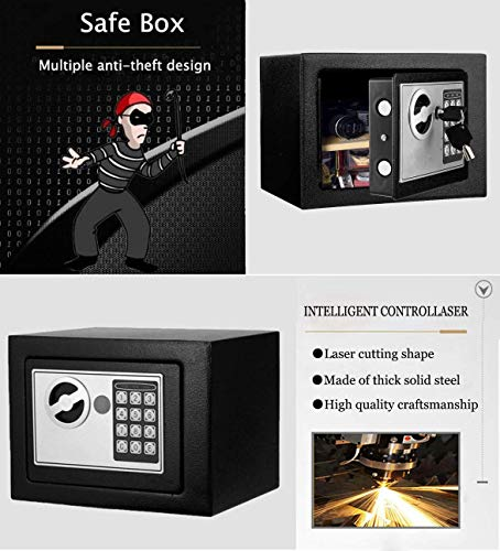 BATHWA Digital Electronic Safe Security Box, Small Wall-Anchoring Safe for Home & Office, Cabinet Safe with Keypad for Money, Jewelry, Cash, Gun - with Batteries and Tools Photo #6