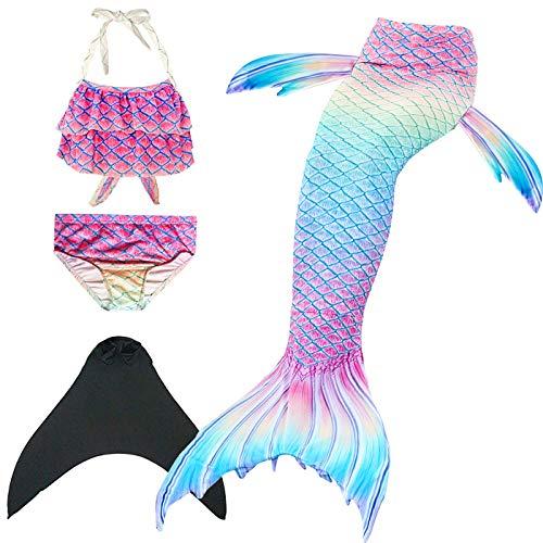 Wishliker Mädchen Meerjungfrauen Schwanz Zum Schwimmen mit Flosse 4 Stück Set