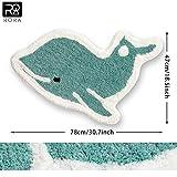 RORA Non-Slip Bath Rug Ocean Animals Cute Blue Dolphin Cartoon Style Plush Water Absorbent Bathroom Decor Mat...