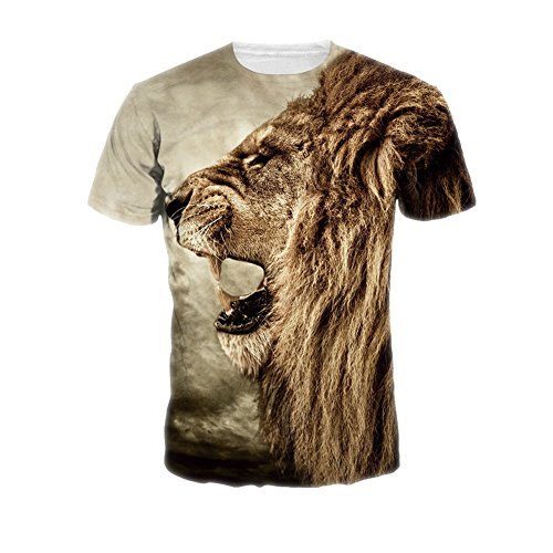 T-Shirts, Dotbuy Unisex 3D Printed Summer Casual Short Sleeve Tees Herren Bunt Druck Rundhals Casual Strassenmode Sport Spaß Motiv Tops (XXL, Khaki Löwen)