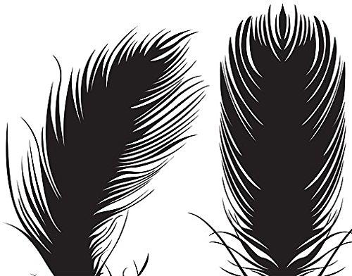 Wandtattoo No.RY11 Fünf Federn WandSticker WandTattoo Dekorationen Flügel Vögel, Farbe:Gelb;Größe:103cm x 185cm