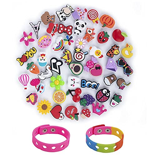 50 Pcs Girl Shoe Charms for Clog Wristband Bracelet with Holes and 2 Pcs Wristbands,Clog Pins Accessories Charms for Girls Daughters Granddaughters Kids Party Favor Birthday Gifts