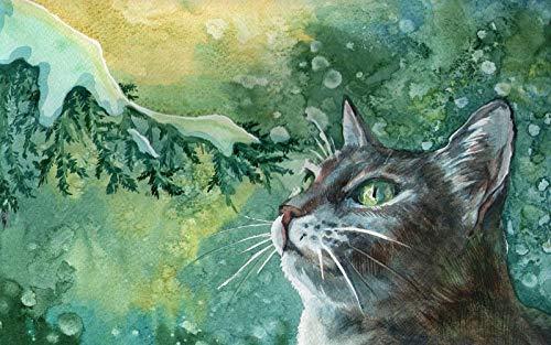nonbranded DIY Malerei nach Zahlen Landschaft Erwachsene Kinder Rahmenlose Ölgemälde Set Home Dekorationen Katzenfarbe Malerei Zweig Schnee Winter Zeichnung
