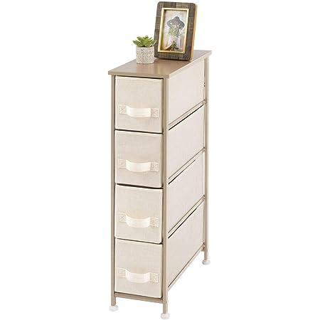 mDesign commode à 4 tiroirs – meuble à tiroirs vertical en panneaux de bois MDF pour la chambre à coucher, le salon ou le couloir – rangement vêtements en métal et tissu – couleur crème/doré