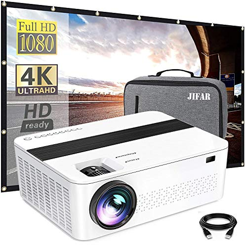 "Bluetooth Native 1080p Projector with 120"" Projector Screen & Bag,9000 Lux 4k Projector for Outdoor Movies with 450""Display,Support Dolby & Zoom,Compatible with TV Stick,HDMI,VGA.USB,Smartphone,PC"