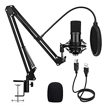 USB Condenser Microphone Travor 192KHZ/24Bit Plug & Play PC Streaming Mic USB Microphone Kit with Professional Sound Chipset Boom Arm Set Studio Cardioid Mic for Recording YouTube Gaming Podcasting