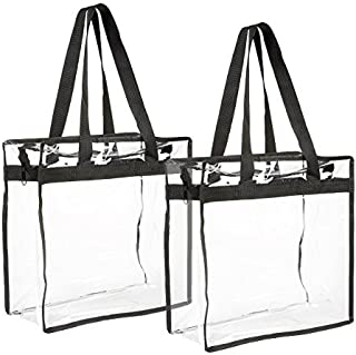Clear Tote Bag with Shoulder Strap, Clear Bag Stadium Approved (2-Pack)