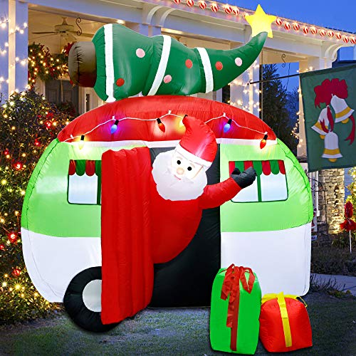 ATDAWN 7 ft Christmas Inflatable Santa Claus Driving a Car with Christmas Tree and Gift Boxes, Blow Up Lighted Yard Decoration, Inflatable Christmas Holiday Outdoor Lawn Yard Garden Decorations