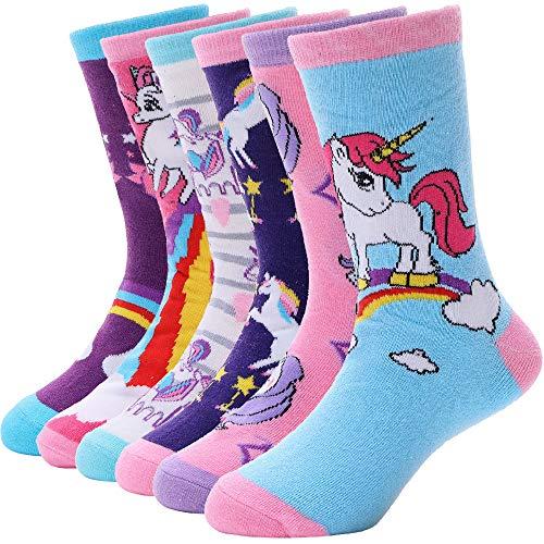 EBMORE Kinder Mädchen Socken Jungen Lustige Geschenke Baumwolle Kindersocken Bunte Weich Neuheit Socken 6 Paar (Einhorn-H,5-8 Y)
