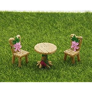 oddier 3pcsset cute table chair micro landscape ornament fairy garden miniature decor