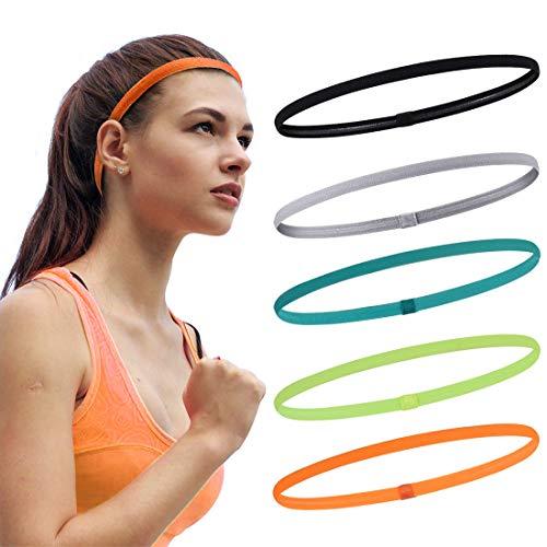 Running Headband Sweat Bands Head Band for Women and Men Non-Slip Elastic Sports Headbands (Black, Gray, Orange, Blue-Green, Fluorescent Green)