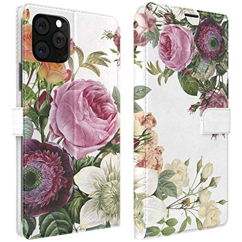 Mertak Wallet Case Compatible with iPhone 12 11 Pro Max SE Xr Xs X 8 Plus 7 6s Flowers Slim Fit Pink Folio Protective Rose Peony Plant PU Card Holder Flip Watercolor Magnetic Floral Cover mertwall_002
