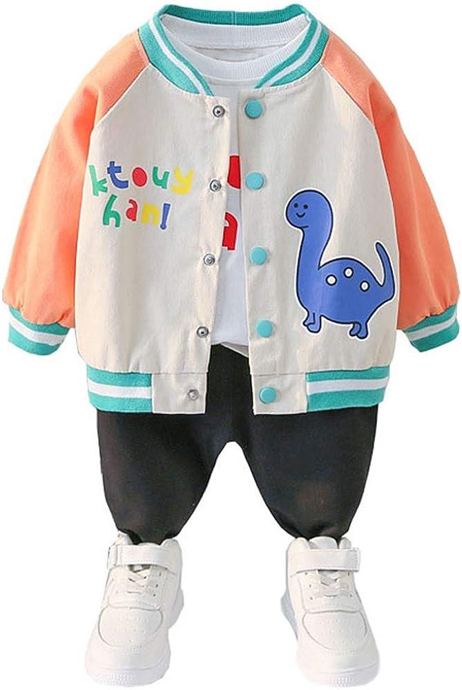 ARTMINE Toddler Baby Boy 3-Piece Casual Cartoons Long Sleeve Set Sweatshirt Jacket and Pants