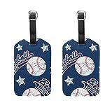 Etiquetas de equipaje con diseño de estrellas de béisbol, para hombres y mujeres, crucero, etiquetas personalizadas de privacidad para bolsa de viaje, maleta de piel, juego de 2 con hebilla
