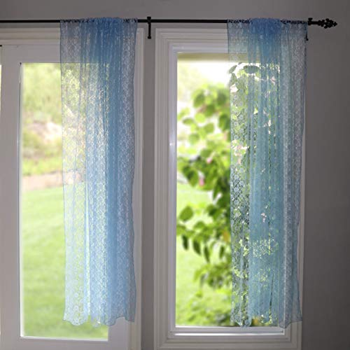 lovemyfabric Floral Lace Window Curtain Panel Light Blue Sheer Lace Bedroom Kitchen Dining Room Bathroom Classroom Diner Window Decor (58' Wide) (48' Tall)