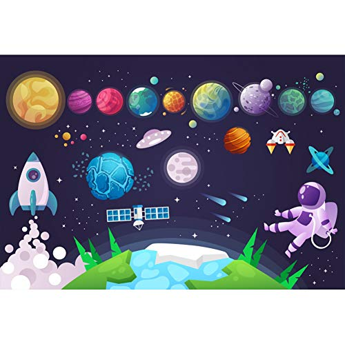 DORCEV 5x3ft Cartoon Planet Photography Backdrop Boys Space Theme Birthday Party Background Universe Planet Spaceship Astronomy Spaceman School Activity Pupils Shoots Video Props