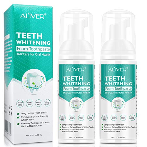 Teeth Whitening Toothpaste, 2 Pack Citrus Baking Soda Toothpaste, Foam Whitening Toothpaste, Ultra-fine Mousse Foam Deeply Cleaning Gums, Stain Removal, Natural Mouth Wash Water (2 x 60ml)