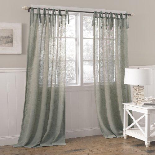 "Laura Ashley Danbury Tie Top Sheer Window Curtain, 1 Panel, 84 Inch Length, 42"" W x 84"" L, Blue"
