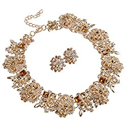 Tawny-8041B Statement Necklace Earrings Set with Rhinestone