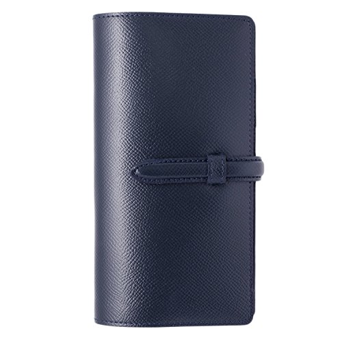 スリップオン スリムロング手帳カバー ベルト付き NC 革 ネイビー DNK-8501