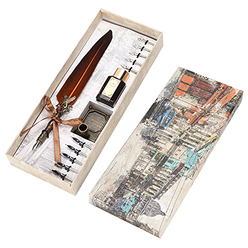 Juego de bolígrafos de plumas, juego de tintas de escritura, traje de escritura tallado para maestros para amantes para regalo de compañeros de clase(marrón)