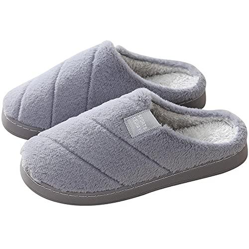 QPPQ Cómodas Pantuflas de algodón con Forro,Zapatillas Antideslizantes de otoño e Invierno, Lindas y cálidas Zapatillas de algodón.-Gris 2_44-45,Pantuflas de algodón para Hombres y Mujeres