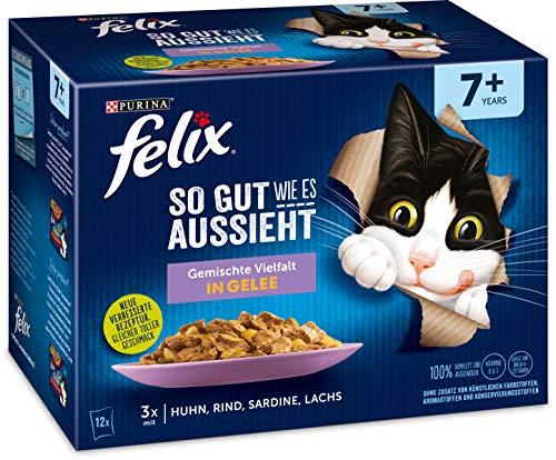 Felix Katzennassfutter So gut wie es aussieht in Gelee Senior Gemischte Vielfal, 6er Pack (6 x 12 x 85g) Portionsbeutel