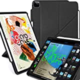 KHOMO iPad Case Pro 11 Case 2nd Generation 2020 with Pencil Holder - Dual Origami Series - Horizontal and Vertical Stand - Supports Apple Pen Charging - Charcoal Black (KHO-1682)