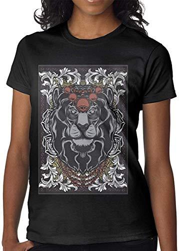 Qhghdgysd The Ancient Lion King Casual Fashion Women's Combed Short-Sleeved T-Shirt,Black,Medium