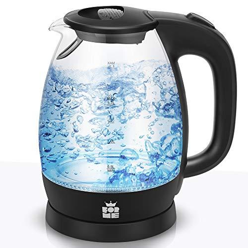 ForMe Hervidor Eléctricos de Vidrio Agua 1,7 I Azul LED Iluminación Tetera...