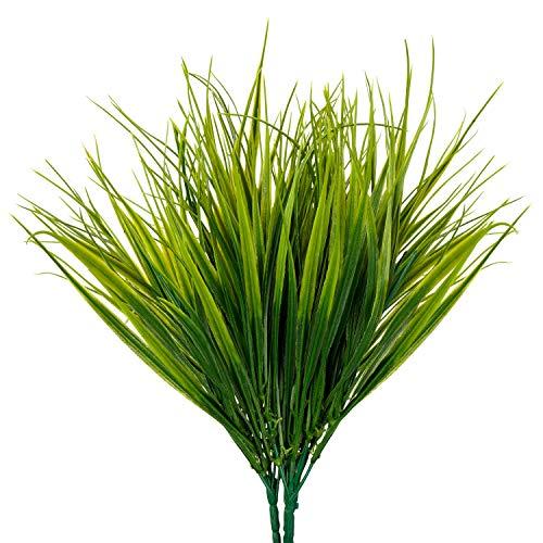 BELLE VOUS Künstliche Pflanzen Gras Kunstpflanze (6 STK) – Gras Künstlich Grün Echt Aussehend Künstliche Blumen Innen/Außen für Wohnzimmer Deko, Deko Büro, Badezimmer Deko – Deko Pflanzen Künstlich