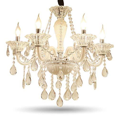DEJ kroonluchter van kristalglas, LED, plafondlamp, hanglamp, keukenverlichting, 6 lampen
