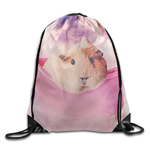 ZHIZIQIU Men's Women's Rabbit Guinea Pigs Print Shoulder Drawstring Bag Backpack String Bags School Rucksack Gym Handbag White