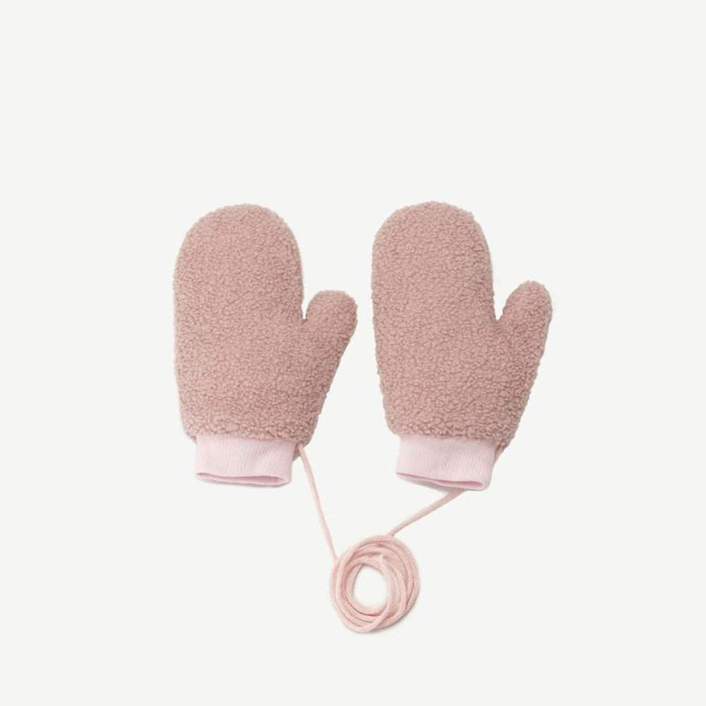 Logo Women's Gloves Girls Winter Plus Velvet Warm All Refers to Hanging Neck Outdoor Cycling Simple Wild Lambskin Gloves Girl Student Gloves One Size (Color : Pink, Size : M)