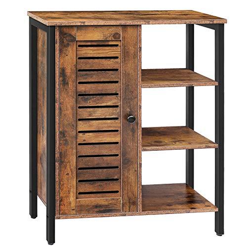 HOOBRO Sideboard mit 2 eingebauten verstellbaren Regalen, 3 offenen Ablagen, Gute Belüftung, Kommode Schrank, Küchenschrank, Badezimmerschrank, Wohnzimmer, Flur, Vintage EBF29CW01
