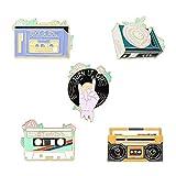Gillna Rock Music - Juego de alfileres de solapa esmaltados para mochilas, alfileres estéticos, 5 unidades