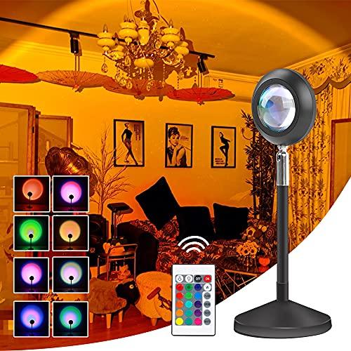Sunset Lamp, Lámpara De Proyector De Arco Iris Giratoria De 180, Romántico Visual, Night Light Projector Dormitorio Romántico, Sala de Estar, Fiesta Familiar, Luces...