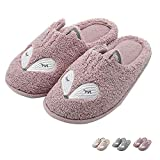 Tuiyata Cute Animal Slippers for Women Mens Winter Warm Memory Foam Cotton Home Slippers Soft Plush Fleece Slip on House Slippers for Girls Indoor Outdoor Shoes Pink