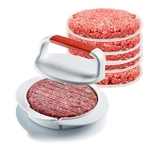 QLYCHQ NonStick Round Hamburger Patty Maker Burger Press, Hamburger Maker Mold, Family BBQ Patty Juicy Regular Beef Maker with 50 Replacement Paper