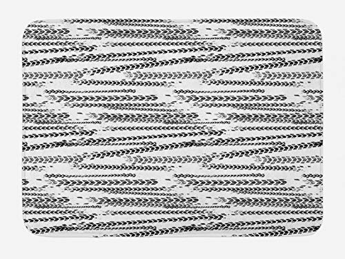 ABAKUHAUS Abstracto Tapete para Baño, Pistas del neumático temático del Grunge, Decorativo de Felpa Estampada con Dorso Antideslizante, 45 cm x 75 cm, Blanco y Gris carbón