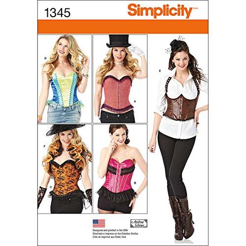 Simplicity Creative Patterns 1345 Schnittmuster für Damen, Korsetts und Rüschen, Gr. 36-44